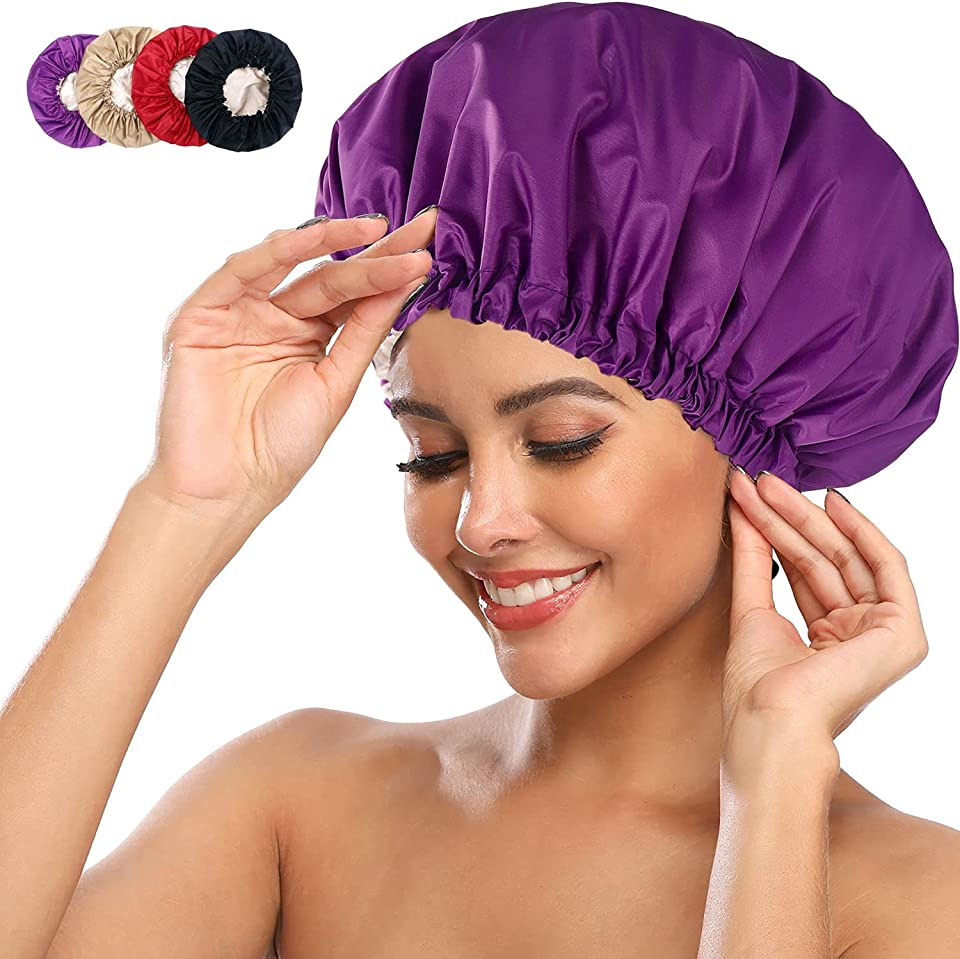 Dusjhet Shower Cap – 4 pcs Large Shower Cap – 38 cm Extra Large Shower Cap for Women – Waterproof Polyester Design with Inner Satin Layer - Adjustable Shower Cap with Buckle and Tightening Belt