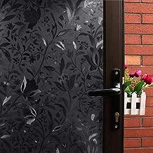 Mikomer Tulip Total Blackout Window Film,100% Light Blocking Glass Door Film,Room Darkening Window Cling,No Glue/Heat Control/Anti UV for Day Sleep & High Privacy,17.5In. by 78.7In.