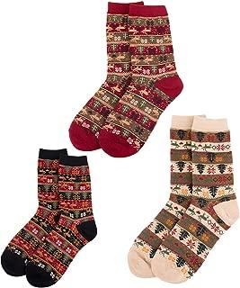 Women Winter Socks Vintage Soft Warm Knit Socks Cute Patterened Crew Socks 3 packs