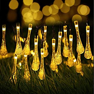 YUNLIGHTS Solar String Lights, 21.3ft 30 LED Christmas Solar String Lights, Waterproof Raindrop Fairy Lights for Indoor Outdoor Wedding, Patio, Lawn, Party, Home,Holiday Decorations