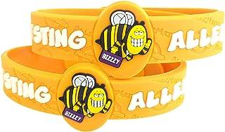 "Bee Allergy Bracelet, Kids Medical Wristband – Colorful Bee Sting Medical Alert Bracelets for Kids Ages 2+ Adjustable & Soft Bee Sting Allergy Bracelets (2 Pack ""Bizzy"")"