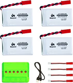 Noiposi 4 pcs 3.7v 850mAh 25c Upgrade Lipo Battery (JST Plug) with X6 Charger for MJX X400 X400W X800 X300C Sky Viper S670 V950hd V950str HS200W National Geographic Quadcopter Drone