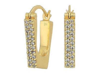 SOLE / SOCIETY Geometric Huggies Earrings (12K Soft Polish Gold/Crystal) Earring