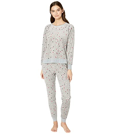 Kate Spade New York Stretch Velour Jogger Pajama Set (Grey Multi Dot) Women