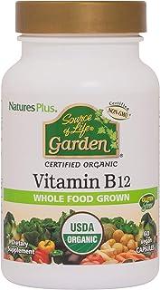NaturesPlus Source of Life Garden Certified Organic Vitamin B12-1000 mcg methylcobalamin, 60 Vegan Capsules - Whole Food V...