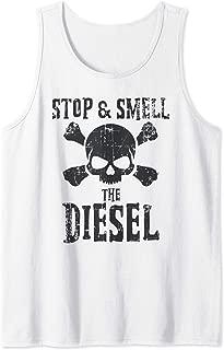 Mens Stop & Smell The Diesel Power Skull & Crossbones Tank Top