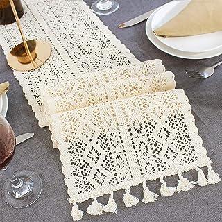 Camino de mesa Mezcla de algodón Nordic Crochet Hollow Lace Floral mance Mantel Café Decoración de la boda Fundas de cama Retro con borla(Los 24x220cm)
