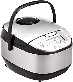 AmazonBasics Multi-Functional Rice Cooker - 10-Cup Uncooked (20-Cup Cooked), Silver