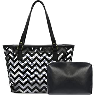 Clear Tote Bags with Full Chevron Stripe PVC Shoulder Handbag with Interior Pocket