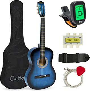 Best Choice Products 38in Beginner Acoustic Guitar Starter Kit w/ Case, Strap, Digital E-Tuner, Pick, Pitch Pipe, Strings - Blue