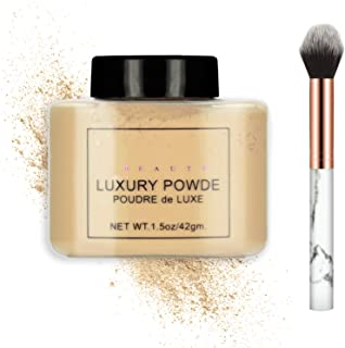 Ownest Loose Face Powder Set, Face Makeup Setting Powder Longlasting Smooth for Shine Silky Look,with A Brush-#Dark Brown