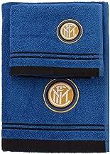 Inter 8907 020 2120 Set Asciugamano e Ospite in Spugna, 100% Cotone, Nero/Azzurro, 100x60x1 cm