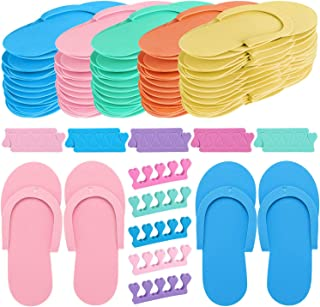 24 Pair Random Color Spa Flip Flops Disposable Slippers for Pedicures with 24 Pair Toe Spacers Separators Bulk Soft Toe Cushions Applying Salon Nail Tool