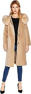 Women's Real Shearling Fur Long Wool Trench Coat with Fox Fur Hood Smartuniversewear