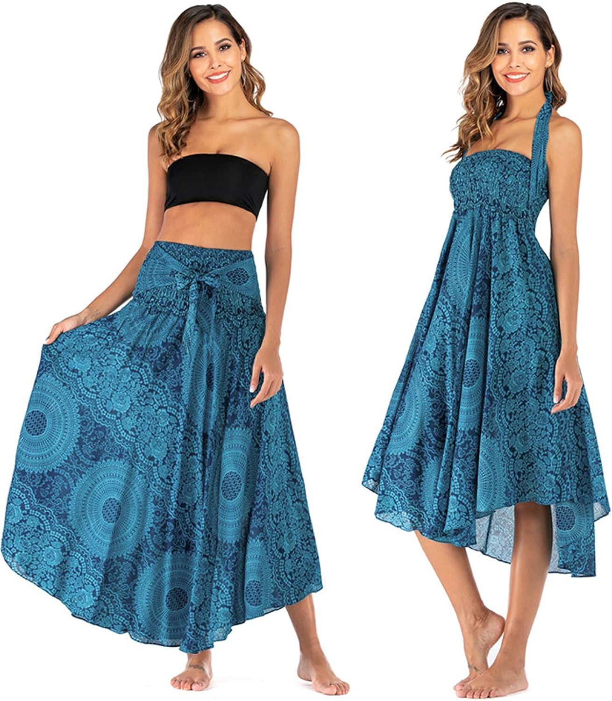 PERSUN Women's 2 in 1 Casual Elastic Waist Boho Maxi Skirt/Floral Beach Halter Midi Summer Dress