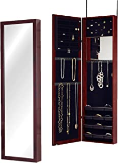 Plaza Astoria Over The Door/Wall-Mount Jewelry Armoire with Full Length Mirror, Lined Storage Interior, Vanity Mirror, Cherry