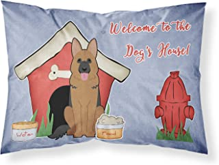 Caroline's Treasures BB2821PILLOWCASE Dog House Collection German Shepherd Fabric Pillowcase, Standard, Multicolor
