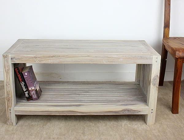 HAUSSMANN Coffee Table W Shelf 36x16x18inch H Farmed Teak Wood Slat W Livos Agate Grey Oil