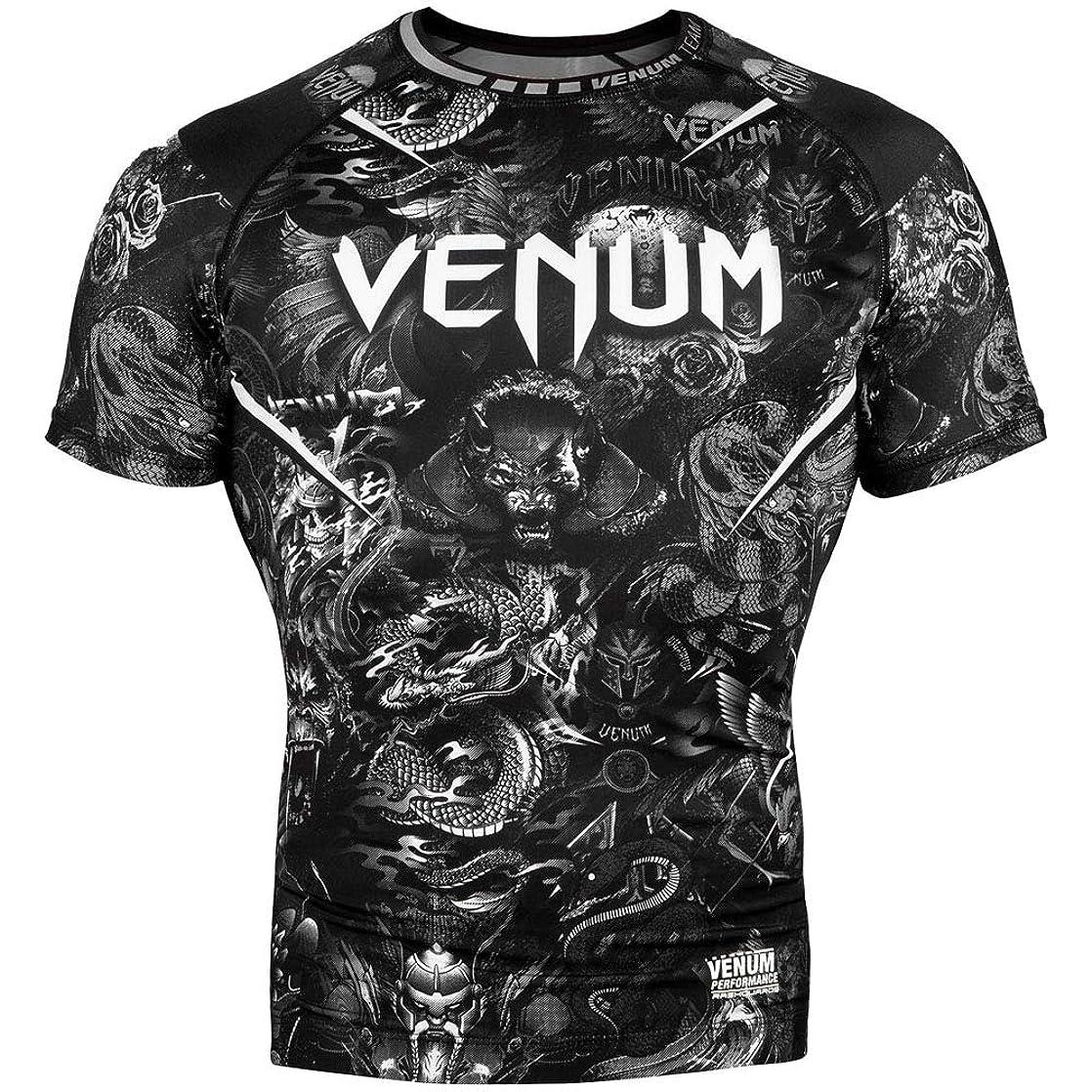 透明に識別する食堂Venum Art ラッシュガード 半袖 メンズ フィットネス No-Gi BJJ ジム クロスフィット