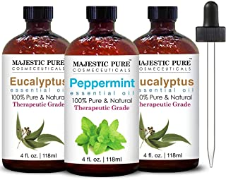 Majestic Pure Peppermint Essential Oil and Eucalyptus Essential Oil Bundle - Great 2 Eucalyptus Plus 1 Peppermint Oil Comb...