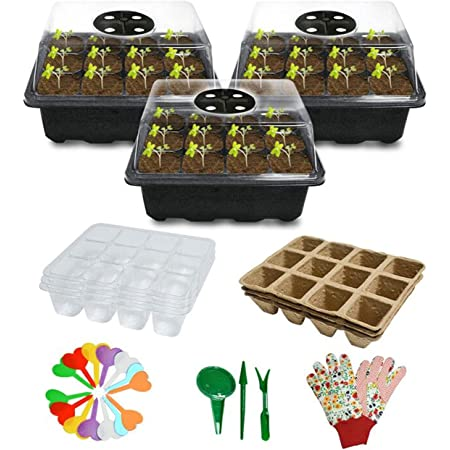 Biodegradable Seed Starter Kit with Peat Pots & Transparent Germination Tray,Plant Labels, Plant Tools, Pair Gloves ,Complete Kit for Vegetable and Flower