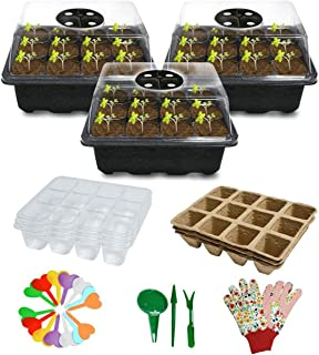 Biodegradable Seed Starter Kit with Peat Pots & Transparent Germination Tray,Plant Labels, Plant Tools, Pair Gloves ,Compl...