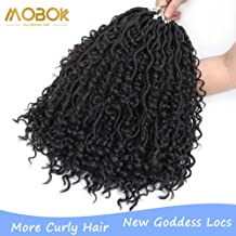 MOBOK Goddess Locs Crochet Hair 14 Inch #2 Soft Bohemian Locs Crochet Prelooped With Curly Hair(14inch, 2)