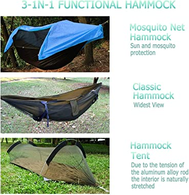 OHMU Camping Hammock with Mosquito Net and Rainfly Cover Portable Hammock Tent (Blue)