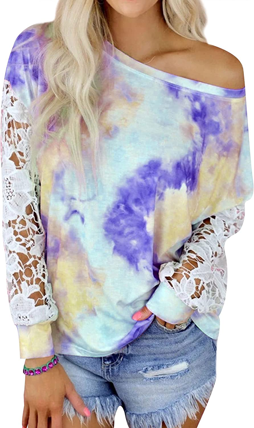 Dresswel Women Tie-Dye OFFicial Today's only Print Tshirt Lace Sleeve Patchwork R Long