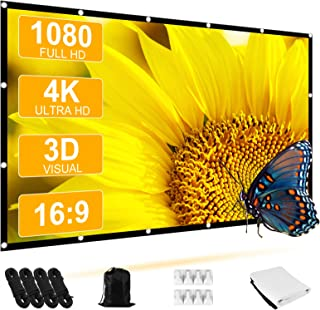 Projector Screen, STRENTER Outdoor Movie Screen 120 Inch 4K HD 16:9 4 Ropes Foldable Wrinkle-Free Portable Video Projectio...