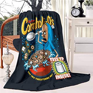 ZEBTBLA Flannel Warm Travel Throw Cover Blanket Cornholio's T Shirt Printing Blanket Microfiber Blanket for Bed Couch Chair Decor Accent Blanket