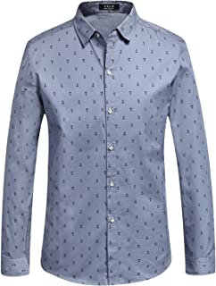 SSLR Men's Anchor Cotton Button Down Casual Long Sleeve Shirt