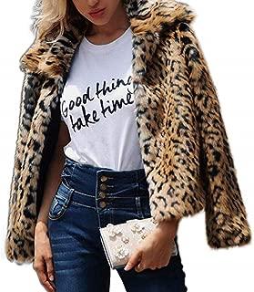 Womens Leopard Faux Fur Coat Vintage Warm Long Sleeve Parka Jacket Outwear
