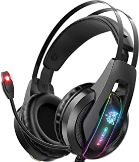 Audífonos Gamer Auriculares para juegos Auriculares PS5 con micrófono con cancelación de ruido de sonido envolvente 7.1 y luz LED RGB, Auriculares para juegos Auriculares para PC compatibles con Xbox One, PS4, PS5, PC (adaptador no incluido) (K16RGB)