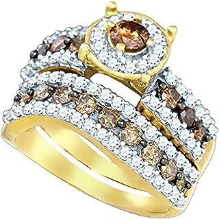 Brandy Diamond Chocolate Brown 10k Yellow Gold Eternity Halo Bridal Engagement Ring Band Set 1-3/4 Ctw.