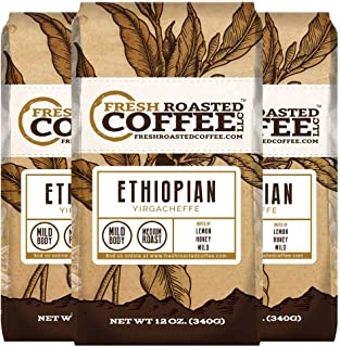 Ethiopian Yirgacheffe Coffee, 12 oz. Whole Bean Bags, Fresh Roasted Coffee LLC. (3 Pack)