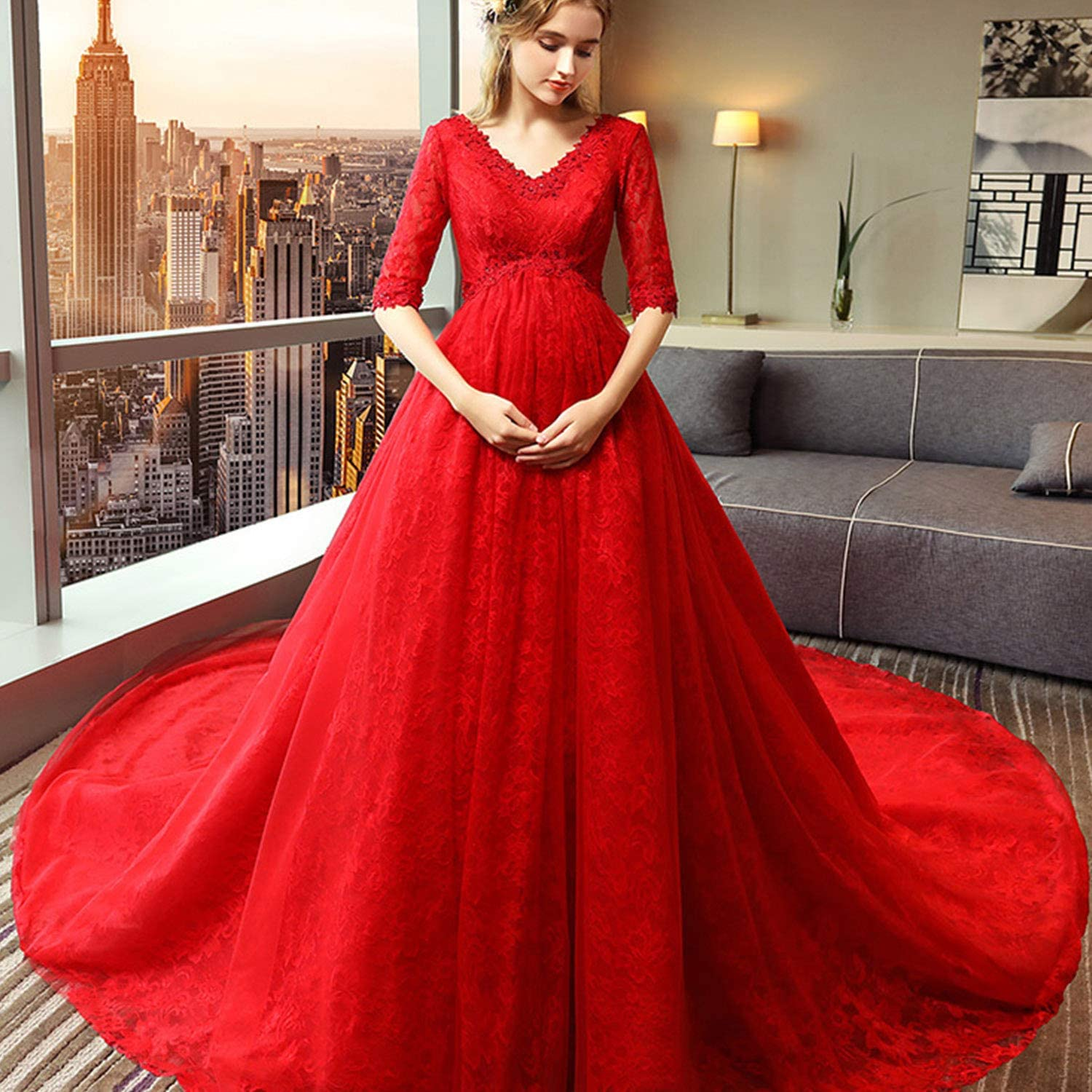 Pregnant Bridal Wedding Dresses Simple Oversized VNeck Long Tailing Women Dresses with Lace Appliques Ideal for Ceremony Evening Party Use