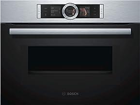 Bosch CMG636BS1 Serie 8 - Horno compacto empotrable con función microondas, 900 W, 45 L, acero inoxidable, puerta abatible, pantalla TFT, Bosch Assist, EcoClean Direct