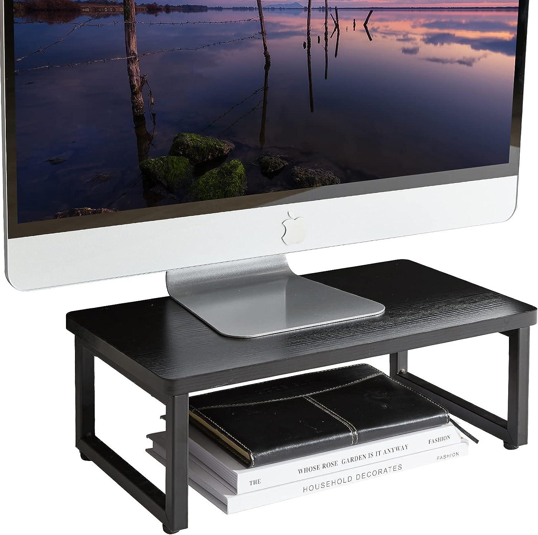 IBUYKE Vintage Wood Monitor Stand Riser, Multi-Purpose Desk & Tabletop Organizer, Desktop Storage Shelf, for Laptop, Computer, 15.75'' x 9'' x 5.7'', Black TDJ001B