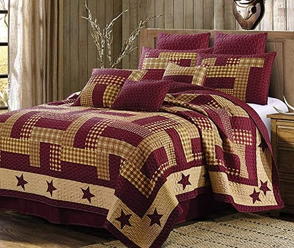Duke Imports 3 Piece Homestead Microfiber Red Quilt Set King