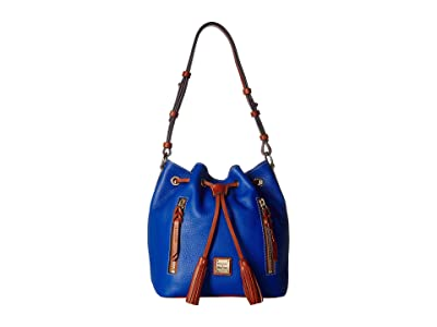 Dooney & Bourke Pebble Cooper Drawstring (French Blue/Tan Trim) Drawstring Handbags