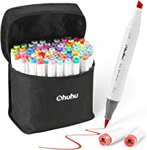 72-Color Alcohol Markers, Ohuhu Dual Tip, Brush & Chisel, Sketch Marker Set for Kids, Artist, Alcohol Brush Markers Bonus ...