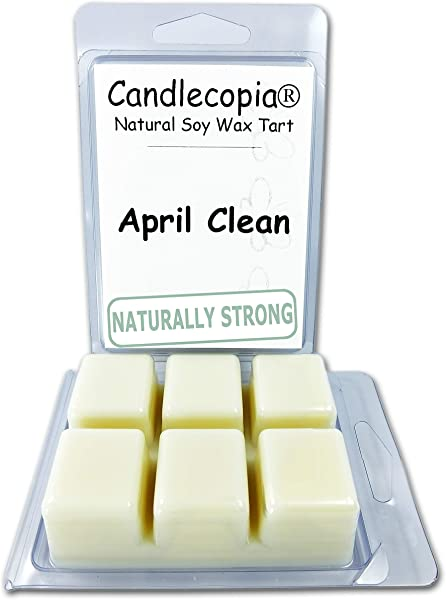 Candlecopia April Clean Strongly Scented Hand Poured Vegan Wax Melts 12 Scented Wax Cubes 6 4 Ounces In 2 X 6 Packs