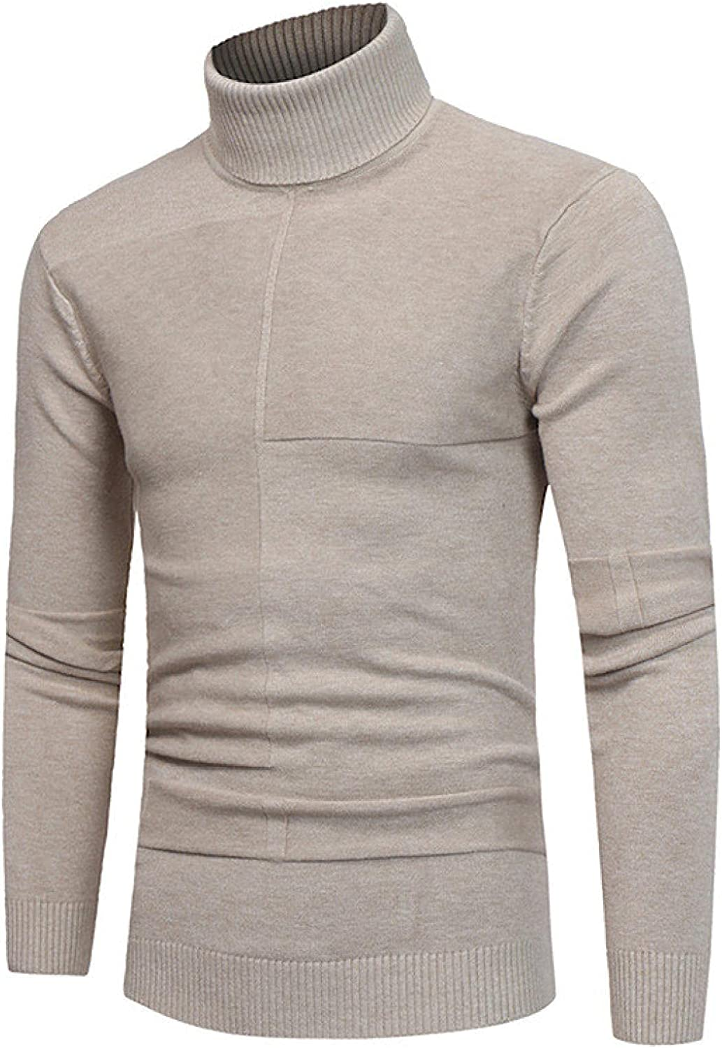 Huangse Mens Slim Fit Turtleneck Sweater Basic Design Casual Knitted Ribbed Thermal Pullover Sweater L-3XL