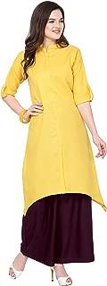 Florence Yellow Slub Cotton Embellished Stitched Kurtis with Palazzo(FL-KT-131-PZ-11)