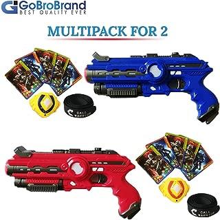 GoBroBrand Laser Tag Gun Toy Blast Set - The Lazer tag Gun set includes 4 Team player settings, 2 guns 2 Badges, 2 Belts, 10 Cards, - Best Toy Gift Kids For Boys Girls age 3, 4, 5, 6 - 12yrs old