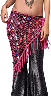 CHENTAOCS Cheap Belly Dance Clothes Accessories Stretchy Long Tassel Triangle Belt Hand Crochet Sequin Belly Dance Hip Scarf Coin Belt Easy to use (Color : Turquoise)