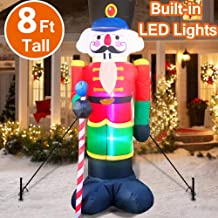 TURNMEON 8 Foot Tall Outdoor Christmas Inflatable Nutcracker Fall Christmas Blow Up Decorations,【Built-in 3 LED Lights】 LED Light-Up Christmas Inflatables Outdoor Lawn Yard Decor (4 Stakes 2 Tethers)