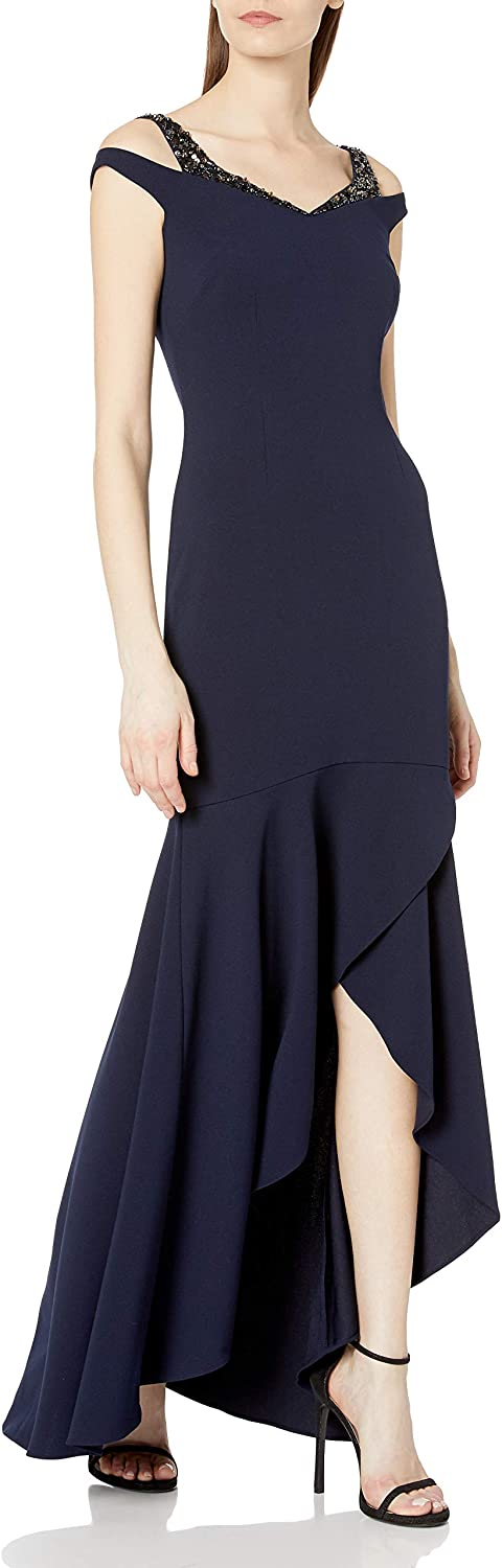 Adrianna Papell Women's Long Knit Crepe Dress with Off Shoulder Sleeves