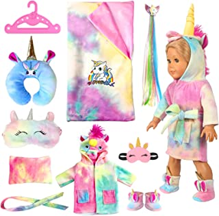【UPGRADE】18-inch Doll-Clothes and Doll-Sleeping-Bag Set - Unicorn Pajama with Sleepover Masks & Pillow - Compatible with American-Girl-Doll-Clothes, Our-Generation, My-Life Dolls Accessories for Kids